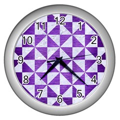 Triangle1 White Marble & Purple Brushed Metal Wall Clocks (silver)  by trendistuff