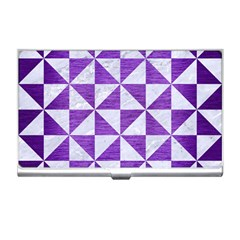 Triangle1 White Marble & Purple Brushed Metal Business Card Holders by trendistuff