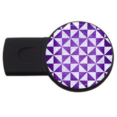 Triangle1 White Marble & Purple Brushed Metal Usb Flash Drive Round (4 Gb) by trendistuff