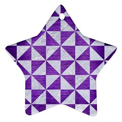 Triangle1 White Marble & Purple Brushed Metal Star Ornament (two Sides)