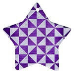 TRIANGLE1 WHITE MARBLE & PURPLE BRUSHED METAL Star Ornament (Two Sides) Front
