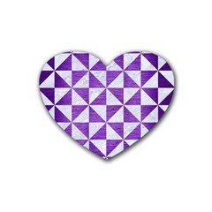 Triangle1 White Marble & Purple Brushed Metal Heart Coaster (4 Pack)  by trendistuff