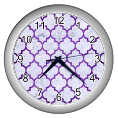 Tile1 White Marble & Purple Brushed Metal (r) Wall Clocks (silver)  by trendistuff