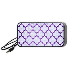Tile1 White Marble & Purple Brushed Metal (r) Portable Speaker by trendistuff