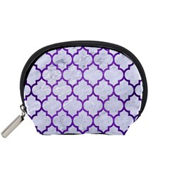 Tile1 White Marble & Purple Brushed Metal (r) Accessory Pouches (small)  by trendistuff