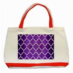 Tile1 White Marble & Purple Brushed Metal Classic Tote Bag (red) by trendistuff
