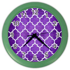 Tile1 White Marble & Purple Brushed Metal Color Wall Clocks by trendistuff