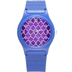 Tile1 White Marble & Purple Brushed Metal Round Plastic Sport Watch (s) by trendistuff