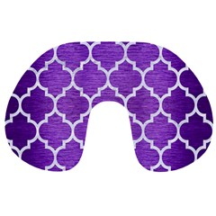 Tile1 White Marble & Purple Brushed Metal Travel Neck Pillows by trendistuff