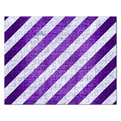 Stripes3 White Marble & Purple Brushed Metal (r) Rectangular Jigsaw Puzzl by trendistuff