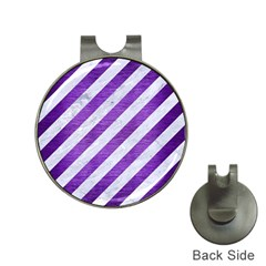 Stripes3 White Marble & Purple Brushed Metal (r) Hat Clips With Golf Markers