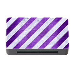 Stripes3 White Marble & Purple Brushed Metal (r) Memory Card Reader With Cf