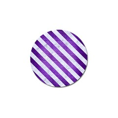 Stripes3 White Marble & Purple Brushed Metal Golf Ball Marker by trendistuff