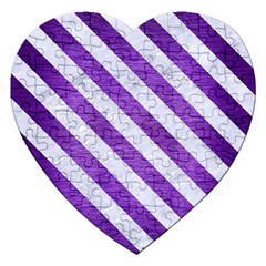 Stripes3 White Marble & Purple Brushed Metal Jigsaw Puzzle (heart) by trendistuff