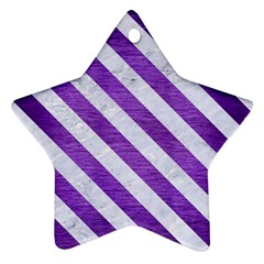 Stripes3 White Marble & Purple Brushed Metal Star Ornament (two Sides)