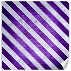 Stripes3 White Marble & Purple Brushed Metal Canvas 12  X 12   by trendistuff