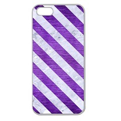 Stripes3 White Marble & Purple Brushed Metal Apple Seamless Iphone 5 Case (clear) by trendistuff