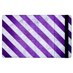 Stripes3 White Marble & Purple Brushed Metal Apple Ipad 2 Flip Case by trendistuff