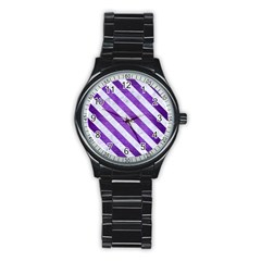 Stripes3 White Marble & Purple Brushed Metal Stainless Steel Round Watch by trendistuff