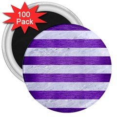 Stripes2white Marble & Purple Brushed Metal 3  Magnets (100 Pack) by trendistuff