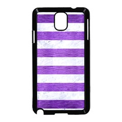Stripes2white Marble & Purple Brushed Metal Samsung Galaxy Note 3 Neo Hardshell Case (black) by trendistuff