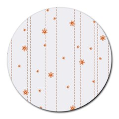 Background Salmon Pink White Motive Round Mousepads by Sapixe