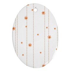 Background Salmon Pink White Motive Ornament (oval) by Sapixe