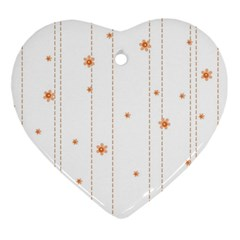 Background Salmon Pink White Motive Ornament (heart) by Sapixe
