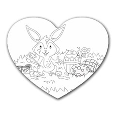 Coloring Picture Easter Easter Bunny Heart Mousepads by Sapixe