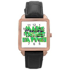 Act Do Text Make Tackle Implement Rose Gold Leather Watch