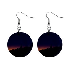 Nature Night Colorful Landscape Mini Button Earrings by Sapixe
