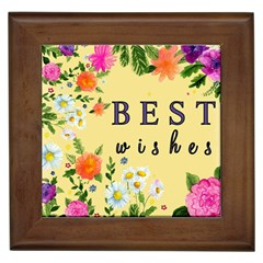 Best Wishes Yellow Flower Greeting Framed Tiles by Sapixe