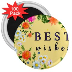 Best Wishes Yellow Flower Greeting 3  Magnets (100 Pack)