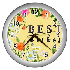 Best Wishes Yellow Flower Greeting Wall Clocks (silver)  by Sapixe