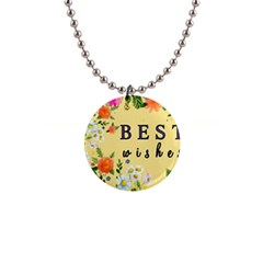 Best Wishes Yellow Flower Greeting Button Necklaces
