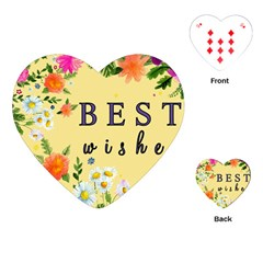 Best Wishes Yellow Flower Greeting Playing Cards (heart)
