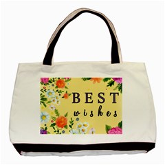 Best Wishes Yellow Flower Greeting Basic Tote Bag by Sapixe