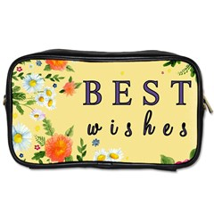 Best Wishes Yellow Flower Greeting Toiletries Bags 2 Side by Sapixe