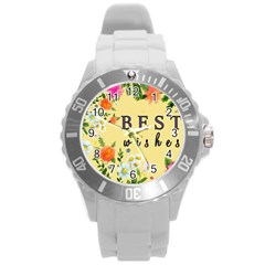 Best Wishes Yellow Flower Greeting Round Plastic Sport Watch (l) by Sapixe