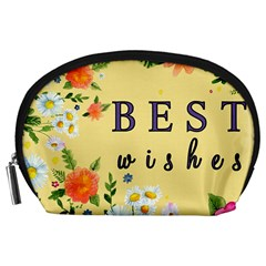 Best Wishes Yellow Flower Greeting Accessory Pouches (large)  by Sapixe