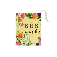 Best Wishes Yellow Flower Greeting Drawstring Pouches (small)