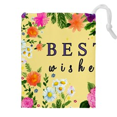 Best Wishes Yellow Flower Greeting Drawstring Pouches (xxl) by Sapixe