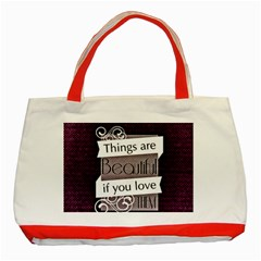 Beautiful Things Encourage Classic Tote Bag (red) by Sapixe