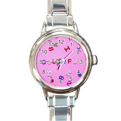 Pattern Desktop Sign Aerial Round Italian Charm Watch by Sapixe