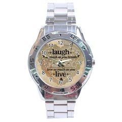 Motivational Calligraphy Grunge Stainless Steel Analogue Watch by Sapixe