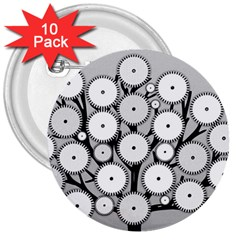 Gears Tree Structure Networks 3  Buttons (10 Pack)