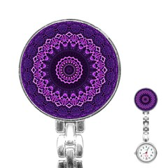 Mandala Purple Mandalas Balance Stainless Steel Nurses Watch by Sapixe