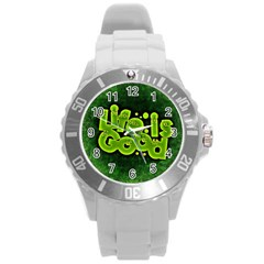 Motivation Live Courage Enjoy Life Round Plastic Sport Watch (l)