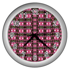 Butterflies In A Wonderful Forest Of Climbing Flowers Wall Clocks (silver)  by pepitasart