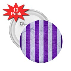 Stripes1 White Marble & Purple Brushed Metal 2 25  Buttons (10 Pack)